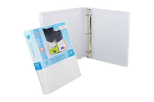 UniKeep 3 Ring Binder - Clear - 1.5 Inch Spine - Metal Rings - with Clear Outer Overlay - Box of 15 Binders