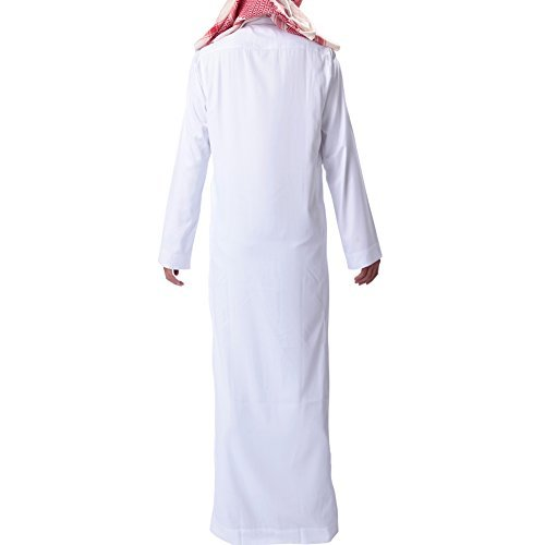 H Hrokk KSH Men's Muslim Solid White Business Saudi Arabic Thobe Size L