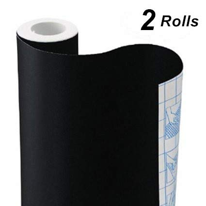 Chalkboard Contact Paper Adhesive Chalk Board Paper Black, TAKSDAI 2 Rolls Blackboard Adhesive Paper Blackboard Surface with BONUS 10 Colorful Chalks,Each Roll 17.7'' × 78.7''