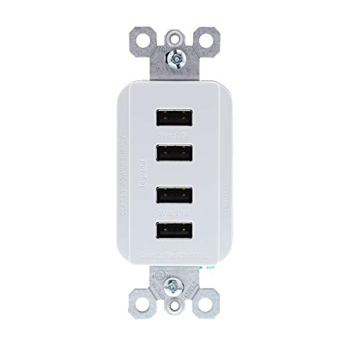 Legrand - Pass & Seymour radiant TM8USB4WCCV4 Quad USB Charging Station for Charging Smartphones & Tablets, 4.2 Amps Total Charging Power, White
