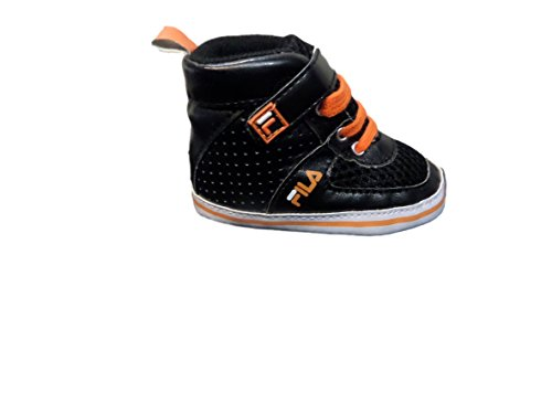 Fila Lace High Top New Born Baby Bootie Sneakers (0-6 Months, Black Orange (High Top Baby Booties)