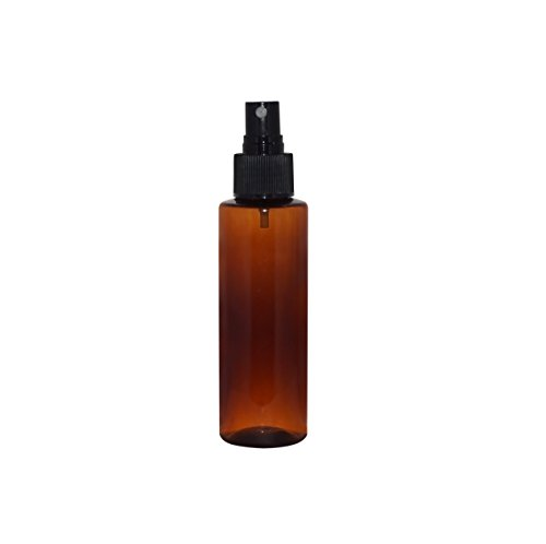 WM (Bulk Pack of 24) 4 oz Amber Refillable, Empty Plastic Cylinder Bottles w/Black Fine Mist Spray Cap. Used in DIY Oils, Soap, Shampoo, Hydration, Cleaning, Cosmetics, Aromatherapy and more