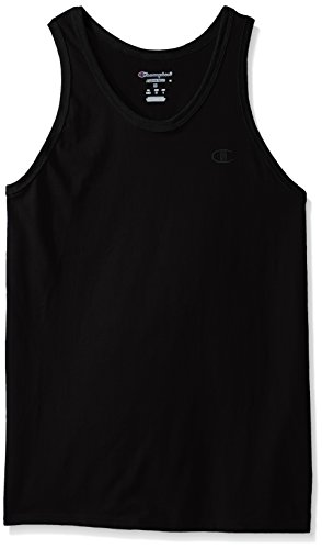 Champion Men's Classic Jersey Ringer Tank Top, Black, -