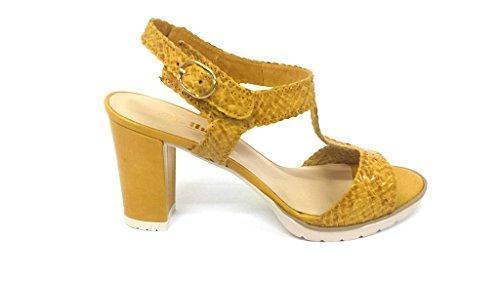 donna giallo tacco pelle sandalo Scarpa S756 Melluso GIALLO medio EwHIxRqP