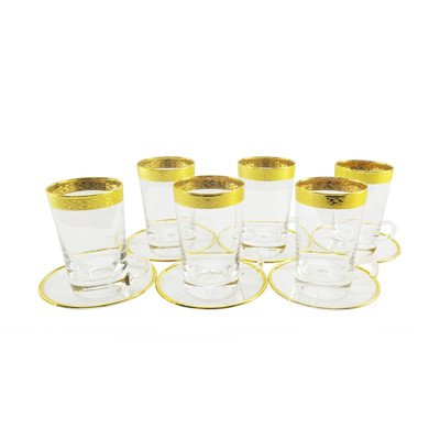 WINE BODIES GT350 Glass Tea Cups and Saucer 6 Piece Set Made in Italy, Gold