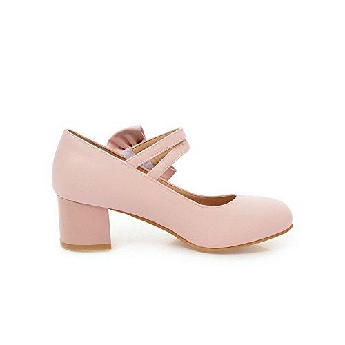 Pumps Kitten Heels Damen VogueZone009 Zehe Pink Shoes Runde Schnalle Soild xZ6nwgf