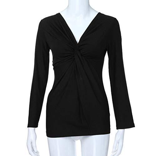 Loose Shirt Neck Noir Femme Infroissable Manche Ruched Longue Uni Tops V Chemisier Sexy Blouse T Chic Coat Mode fqzwavT