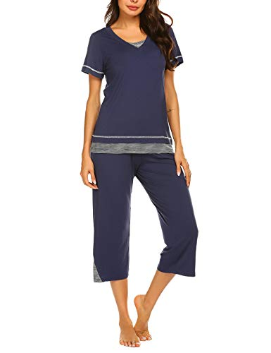 Ekouaer Women's Pajamas Set Ladies 2 Piece Top & Capri PJ Sleepwear Set (Blue,2XL)