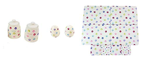 (12 PIECE PRINTED SPOTS DOTS COFFEE SUGAR CANISTERS SALT PEPPER SHAKERS PLACEMATS COASTERS)