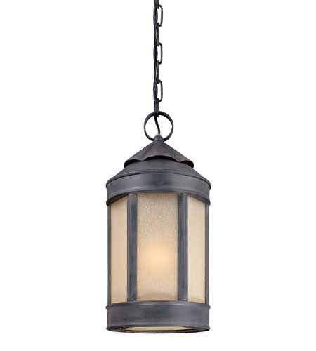 Outdoor Pendant 1 Light with Aged Iron Finish Hand Forged Iron Material Medium 9 inch Wide 100 Watts
