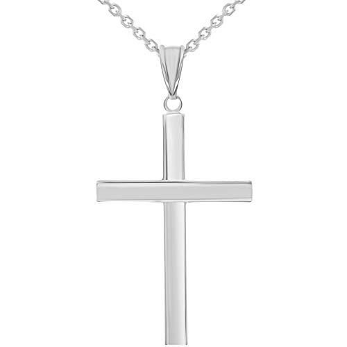(14k White Gold Polished Simple Religious Cross Pendant Necklace, 18