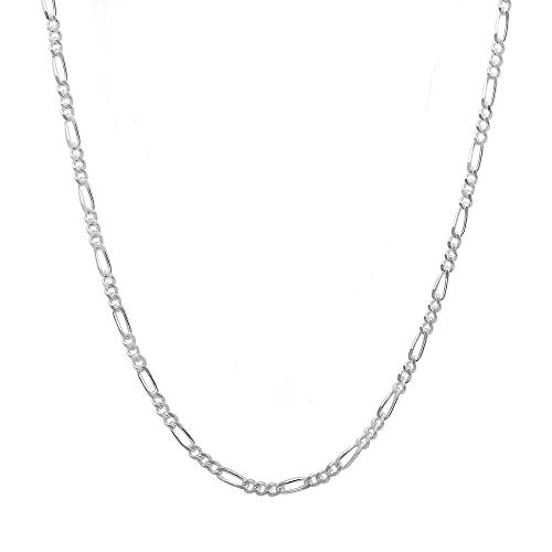 Verona Jewelers 2.2MM 925 Sterling Silver Classic Figaro Chain - Anklet Necklace and Bracelet use (22