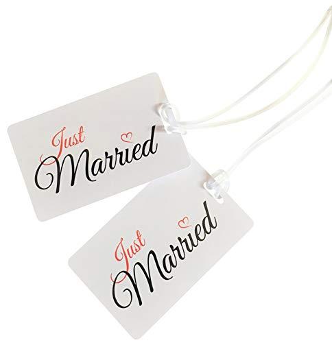 Just Married Luggage Tags Engagement Wedding Honeymoon Newlyweds Travel Gift White/White