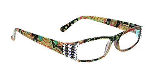 Florence, Bling Women Reading Glasses Adorned with AB (Aurora Borealis) and Hematite Swarovski Crystals +1.25 +1.50 +1.75 +2.00 +2.25 +2.50 +2.75 +3.00 Paisley Green And Black. NY Fifth Avenue. (Fifth Avenue Crystal Aurora)