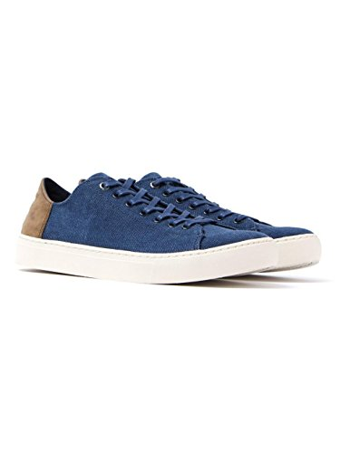 Toms Mens Lenox Sneaker Canvas / Leather Navy Washed Size 11