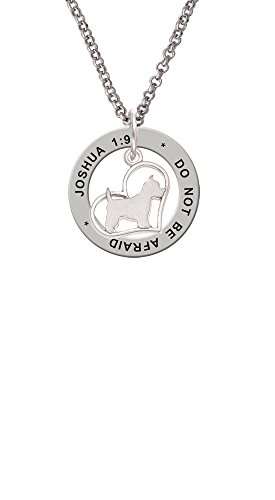 - Westie Silhouette Heart - Joshua 1:9 Affirmation Ring Necklace