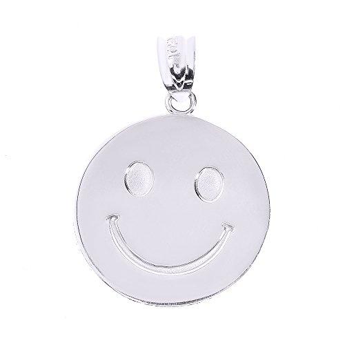 Petits Merveilles D'amour - 14 ct Or Blanc 585/1000 Smiley Disc Pendentif