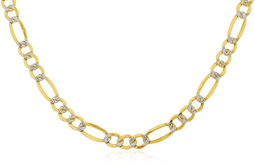 JOTW Men's 14K Yellow Gold 4.4mm Pave Figaro Chain, 24 Inches