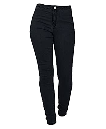 chimikeey Blue High Waist Basic Solid Color Skinny Denim Jeans Pencil Pants For Women