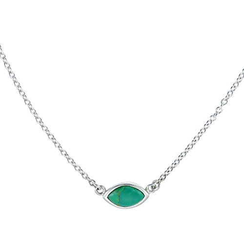 Turquoise Marquis (Boma Sterling Silver Green Turquoise Marquis Necklace, 18 Inches)