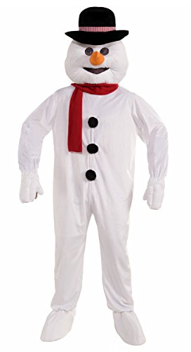 Forum Novelties Men's Plush Snowman Mascot Costume, White, One Size (Funny Santa Costumes)
