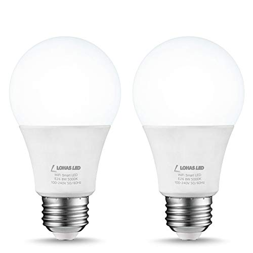 LOHAS A19 Smart Bulbs, Wifi Light Bulb Alexa, Daylight White 5000K Dimmable by Smart Phone, E26 Base LED Bulb 8Watt, Remote Voice Control Smart Home Lighting, Compatible with Google Assistant(2Pack)