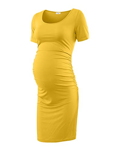 (Maternity Dress Bodycon Ruched Wrap Womens Causual Pregnancy Dresses Ginger Large)