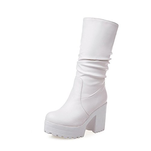 Allhqfashion Solid Toe PU White Heels Women's Pull Boots Closed Round High On TqAT5r