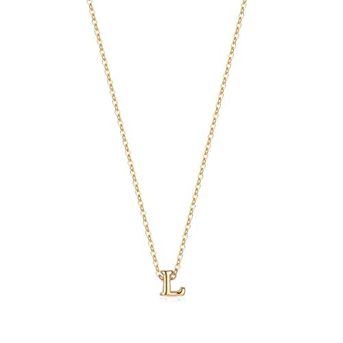 (Petite Initial Necklace, 14K Gold Plated Dainty Letter L Necklace Delicate Mini Initial Personalized Choker Handmade Necklace Jewelry for Women Girls (L))