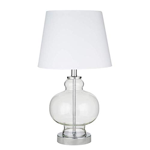 Ravenna Home Modern Round Clear Glass Table Lamp With LED Light Bulb - 10 x 10 x 17.50 Inches, Chrome ()