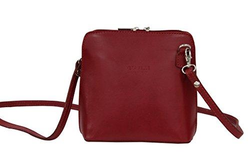 AMBRA Moda Bolso de hombro Mujer - Bolsos bandolera de cuero pequeño VL508 rojo oscuro