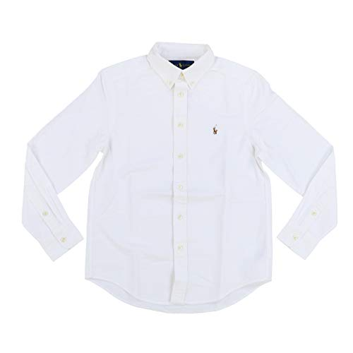 RALPH LAUREN Boys Long Sleeve Oxford Shirt (M (10-12), Polo White) Boys Ralph Lauren Button