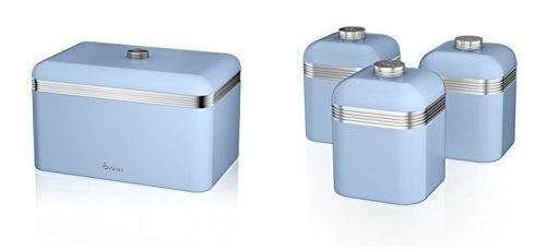 Price comparison product image Swan Kitchen Accessories Retro Set - Retro Blue Breadbin and 3 Blue Canisters Set by Swan