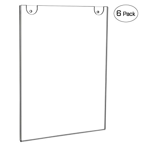 NIUBEE Acrylic Wall Mount Sign Holder 8.5 x 11 Inch- Clear Ad Frames for Papers- Vertical (6 Pack) (Wall Plastic)