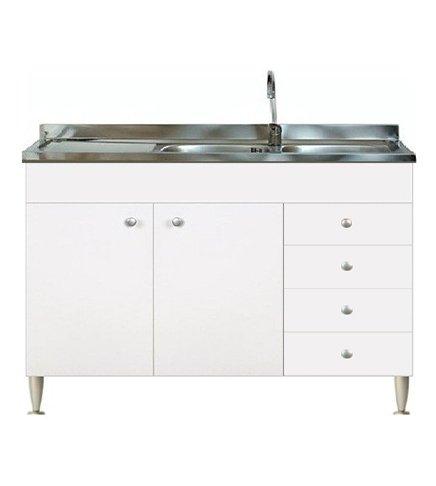 Mobile cucina 2 ante con cassettiera dx completo di lavello inox ...