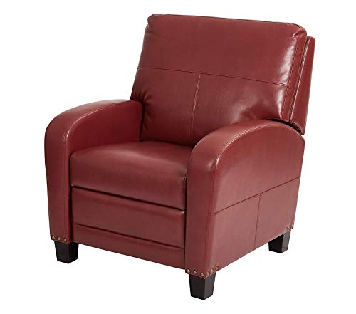 Wood & Style Office Home Furniture Premium Bonded Leather Recliner with Antique Bronze Nailhead Accents, Merlot