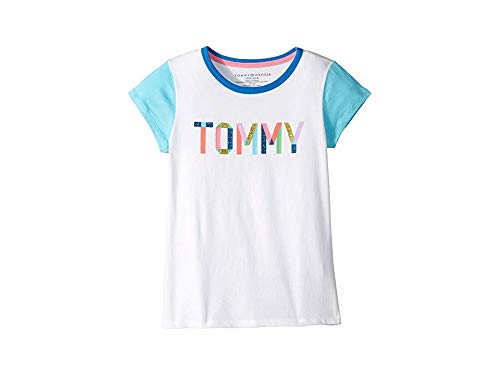 Tommy Hilfiger Big Girl's Big Girls' Tee Shirt, tommy taupe white, M8/10