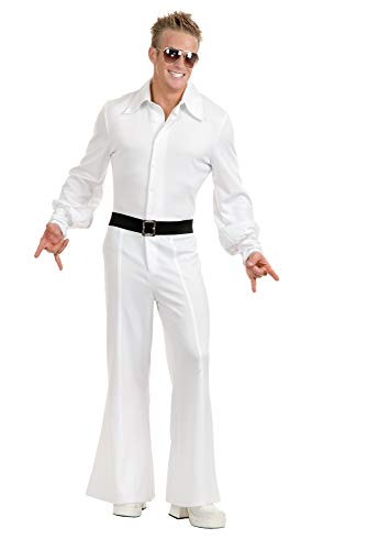 Charades Costume Jumpsuit Men's Disco Fever King, White, Medium]()
