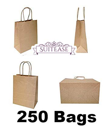250Pcs Tempo Kraft Paper 60# Shopping Bag, 8 1/4 X 4 3/4 X 10 1/2