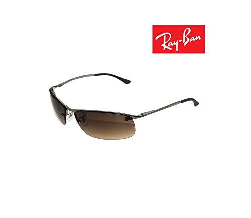 Brand New RB3183-003 Sunglasses Silver Frame L.Brown lens Metal 100%UV Made In - Lenses Rb3183