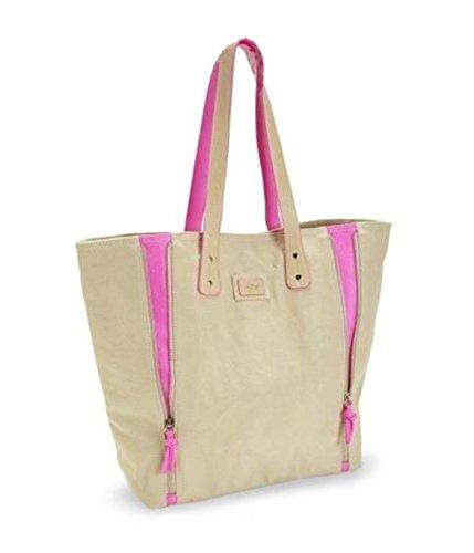 Aeropostale Womens Solid Zippered Tote Handbag Purse Beige