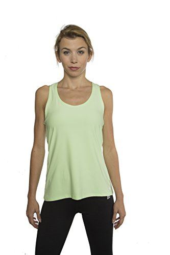 RBX Active womens Basic Solid Colored Racerback Performance Tank Top,Green Apple,Large