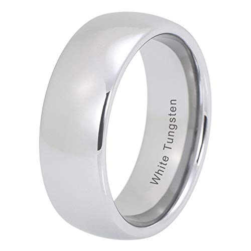 iTungsten 4mm 6mm 8mm White Tungsten Carbide Rings For Men Women Wedding Bands Platinum Plated Comfort - Wedding Band 8mm Platinum