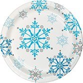 Club Pack of 96 Blue Snowflake Swirls Ensemble Disposable Paper Party Dinner Plates 7