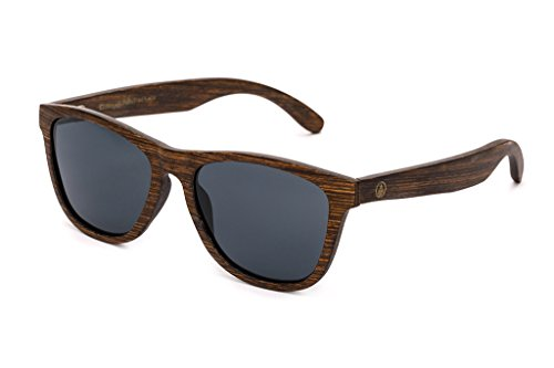 Tree Tribe Polarized Wood Sunglasses - Real Wood Natural Fashion - The Del Mars + Bamboo Case - Brown Frame with Black - Tree Sunglasses Tribe