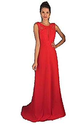 Blevla Straps Open Back Long Chiffon Prom Dress Formal Gowns Red US 2