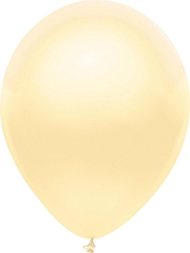 PartyMate 76524 Made in the USA Metallic 12-Inch Latex Balloons, 72-Count, Silk Ivory