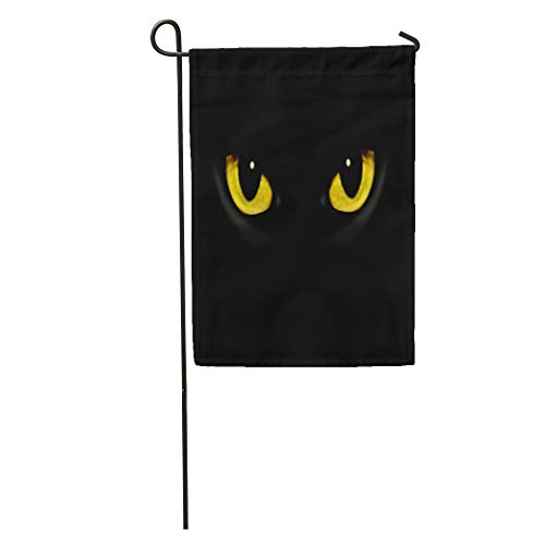 Semtomn Garden Flag Yellow Panther Cat Eyes in Dark Night Green Black Animal Home Yard House Decor Barnner Outdoor Stand 12x18 Inches Flag ()