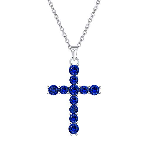 FANCIME White Gold Plated 925 Sterling Silver Created Sapphire Blue Corundum Crucifix Pendant Necklace For Women Girls, 16