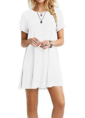 TINYHI Women's Swing Loose Short Sleeve Tshirt Fit Comfy Casual Flowy Tunic Dress White,Small